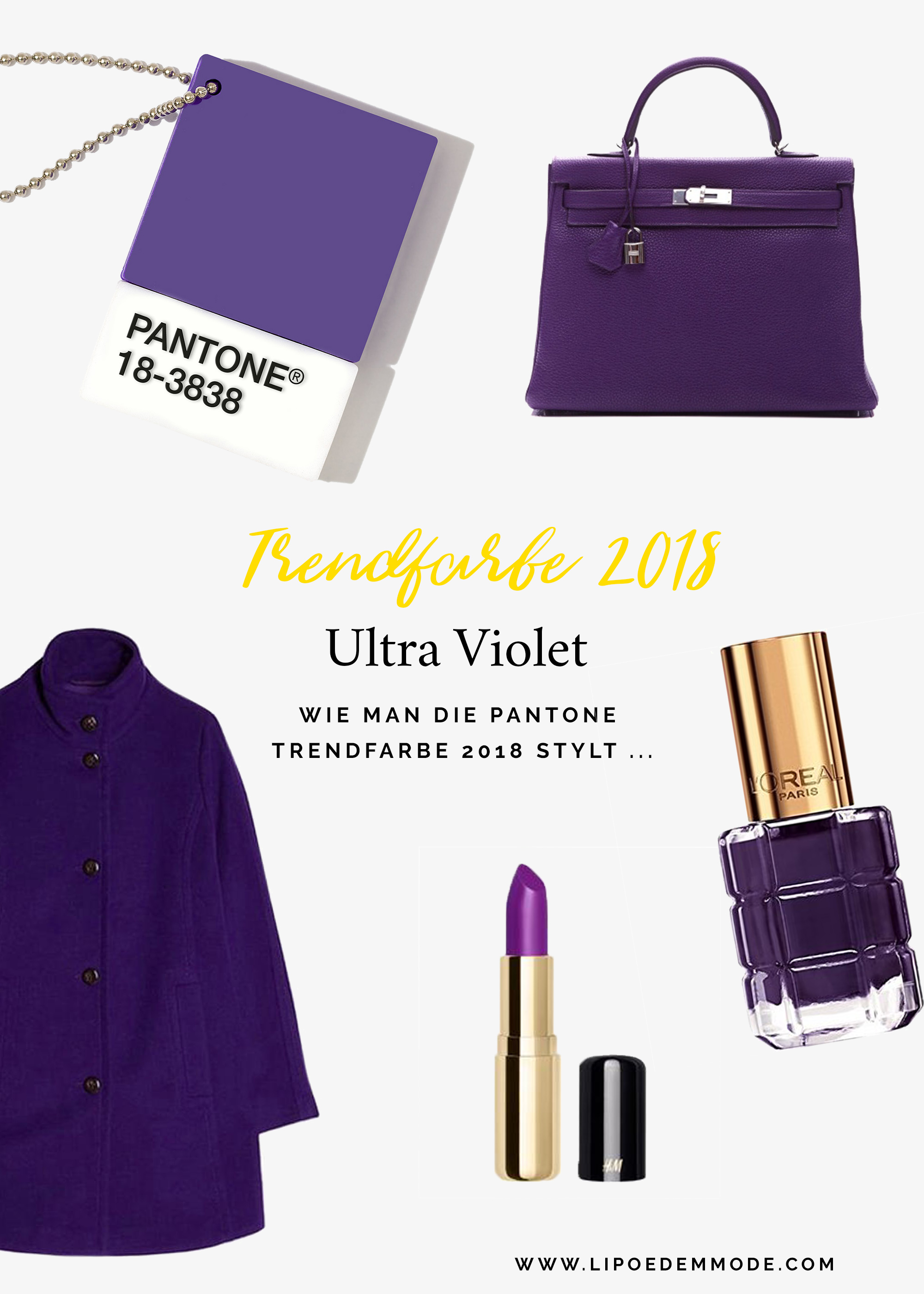pantone trendfarbe 2018 ultra violet lip dem mode. Black Bedroom Furniture Sets. Home Design Ideas